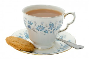 Cup of tea with a biscuit